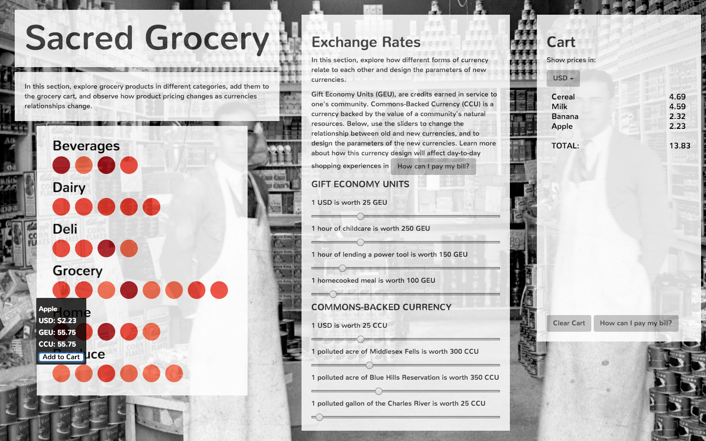 Hypothetical grocery with exploratory currencies