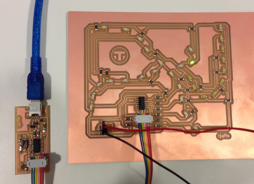 Designed and fabricated PCB board in shape of MBTA map